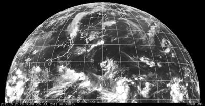 ひまわり・北半球画像 2011年7月25日9時