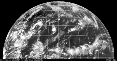 ひまわり・北半球画像 2011年8月10日18時