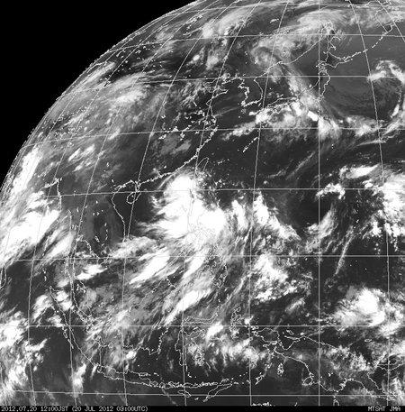 2012年07月20日12時 ひまわり赤外線画像