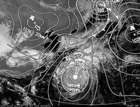 ひまわり7号可視画像・天気図合成 2013年10月15日12時JST