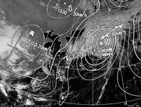 ひまわり7号可視画像・天気図合成 2013年10月16日12時JST