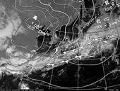 ひまわり6号可視画像・天気図合成 2013年11月4日12時JST