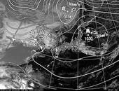 ひまわり6号可視画像・天気図合成 2013年11月9日12時JST