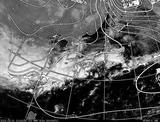 ひまわり7号可視画像・天気図合成 2014年3月1日12時JST