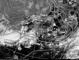 ひまわり7号可視画像・天気図合成 2014年3月4日12時30分JST