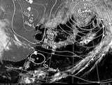 ひまわり7号可視画像・天気図合成 2014年4月5日12時JST