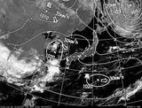 ひまわり7号可視画像・天気図合成 2014年4月8日12時JST
