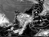 ひまわり7号可視画像・天気図合成 2014年4月29日12時JST