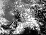 ひまわり7号可視画像・天気図合成 2014年6月11日12時JST