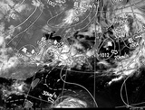 ひまわり7号可視画像・天気図合成 2014年7月6日12時JST