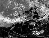 ひまわり7号可視画像・天気図合成 2014年7月15日12時JST