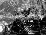ひまわり7号可視画像・天気図合成 2014年7月18日12時JST