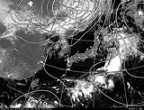 ひまわり7号可視画像・天気図合成 2014年7月21日12時JST