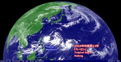 2014年7月29日12時 ひまわり7号可視画像