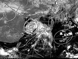 ひまわり7号可視画像・天気図合成 2014年8月3日12時JST