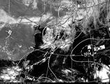 ひまわり7号可視画像・天気図合成 2014年8月4日12時JST