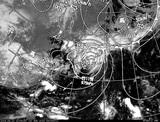 ひまわり7号可視画像・天気図合成 2014年8月10日12時JST