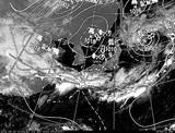 ひまわり7号可視画像・天気図合成 2014年9月13日12時JST