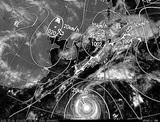 ひまわり7号可視画像・天気図合成 2014年10月3日12時JST