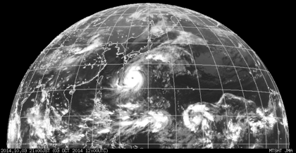 2014年10月3日15時 ひまわり7号赤外線画像