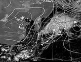 ひまわり7号可視画像・天気図合成 2014年10月6日12時JST