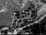 ひまわり7号可視画像・天気図合成 2014年10月7日12時JST