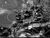 ひまわり7号可視画像・天気図合成 2014年10月8日12時JST
