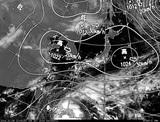 ひまわり7号可視画像・天気図合成 2014年10月9日12時JST