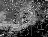 ひまわり7号可視画像・天気図合成 2014年12月1日12時JST