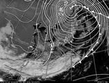 ひまわり7号可視画像・天気図合成 2014年12月2日12時JST