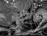 ひまわり7号可視画像・天気図合成 2015年1月16日12時JST