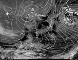ひまわり7号可視画像・天気図合成 2015年1月18日12時JST