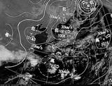 ひまわり7号可視画像・天気図合成 2015年2月11日12時JST