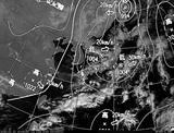 ひまわり7号可視画像・天気図合成 2015年2月12日12時JST