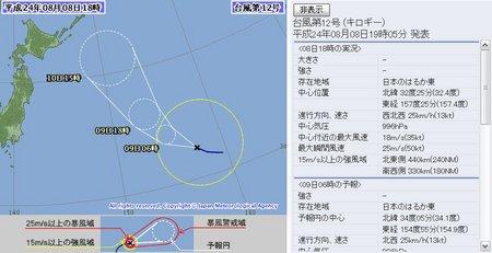 2012年台風第12号 8月8日18時