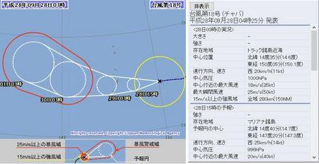 平成28年台風第18号72時間予報 9月28日3時