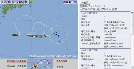 2012年台風第10号 7月29日0時