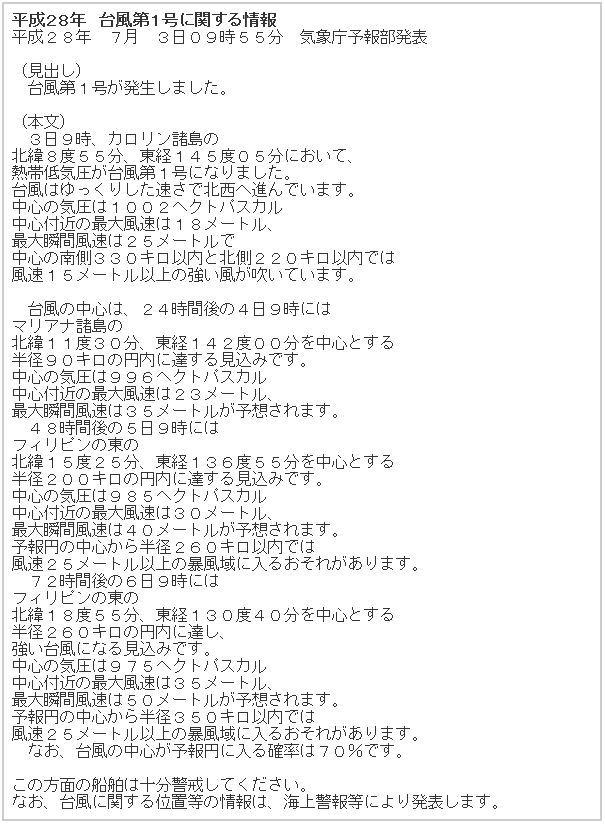 平成28年 台風第1号に関する情報
