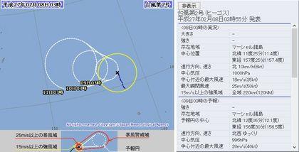 2015年台風第2号 72時間予報 2月8日3時